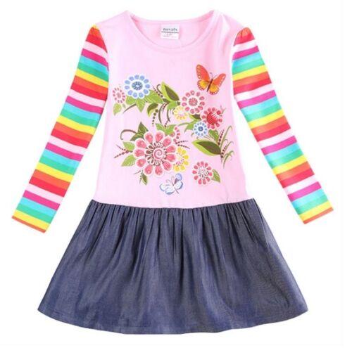 Filles rayures arc-en-Robe Âge 18-24 mois Kids Neuf à Manches Longues Parti vêtements