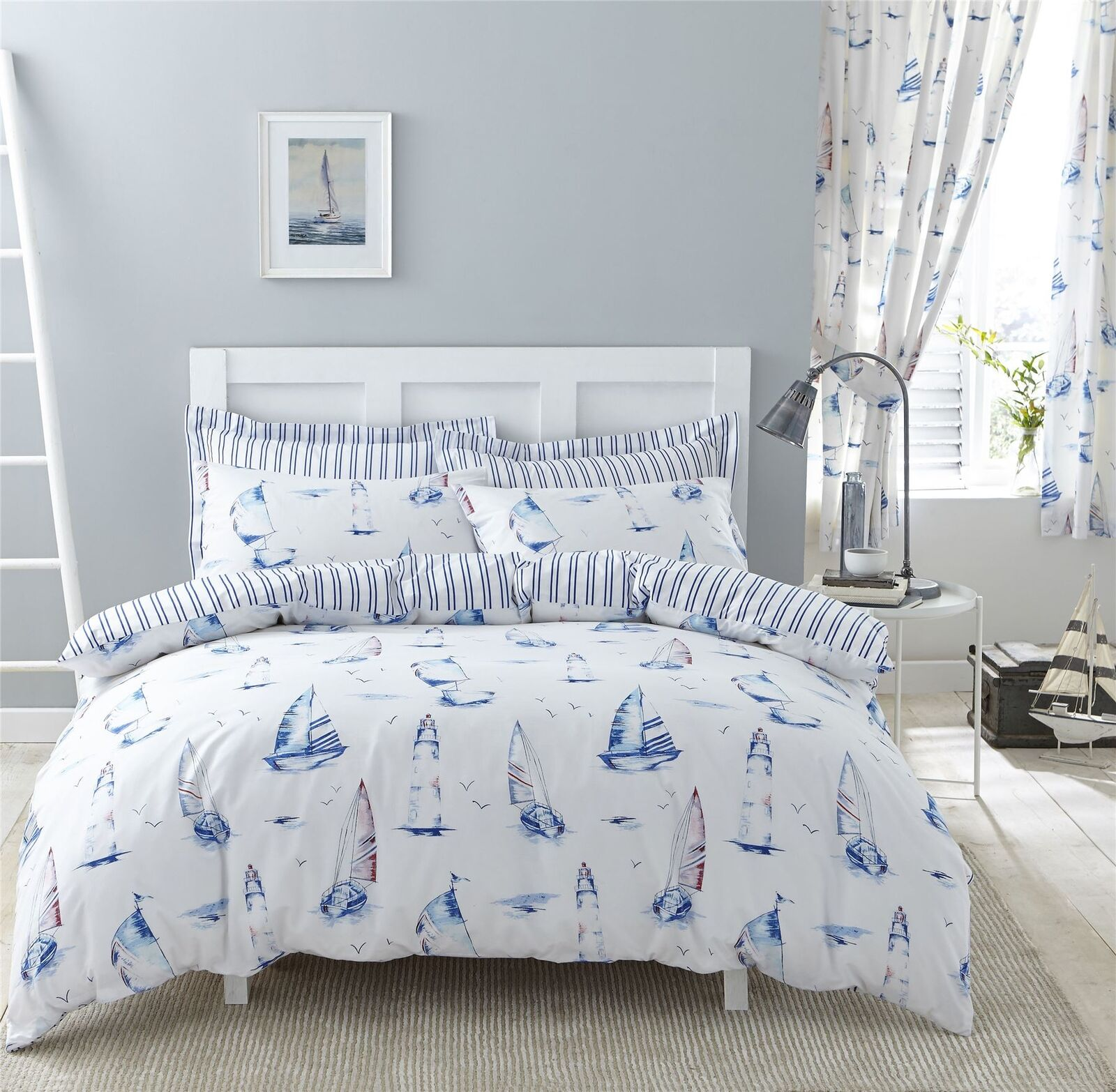 Nautisch Stiefele Streifen Blau KingGröße-Bettbezug & Plissee-Vorhänge