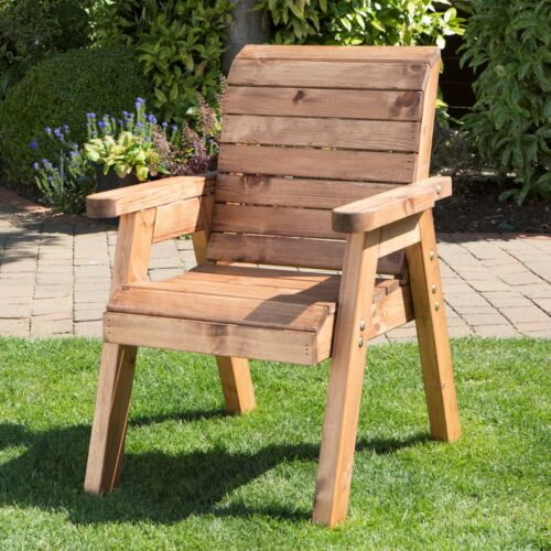 Charles Taylor Hand Made Traditional Chunky Rustic Wooden Garden Chair