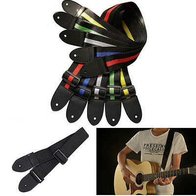 Fashion Acoustic Electric Guitar Bass Nylon Adjustable Strap Belt Guitar Strap