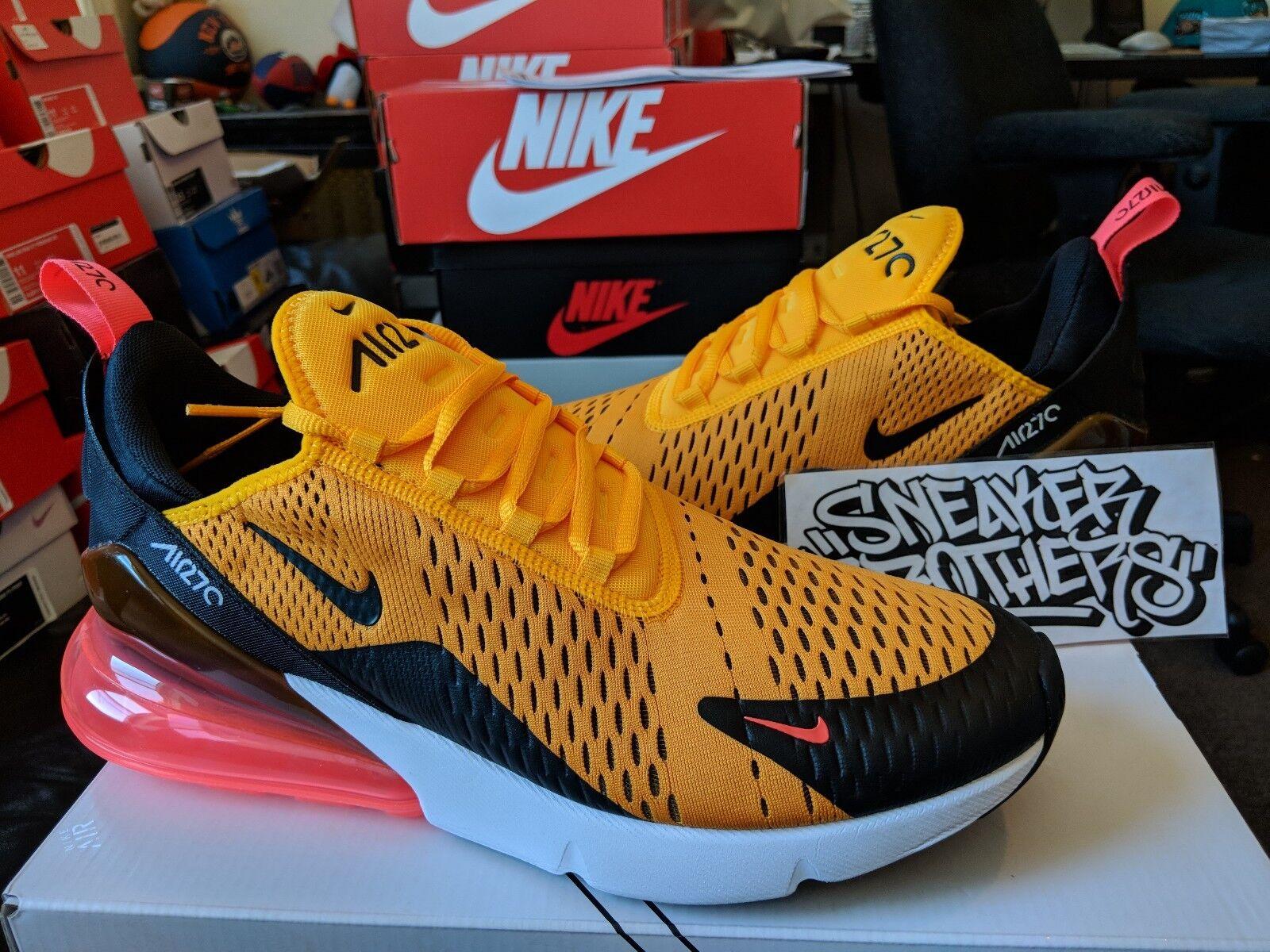 Nike air max 270 tigre nera in oro giallo caldo pugno bianco ah8050-004 university