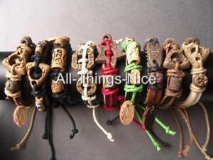 LEATHER-Surf-Charm-TRIBAL-Ethnic-Adjustable-Slide-Wristband-Bangle-Bracelet-10