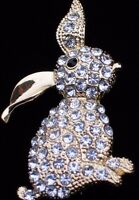 Monet Gold Clear Rhinestone Easter Bunny Rabbit Pin Brooch Jewelry 2.25nice