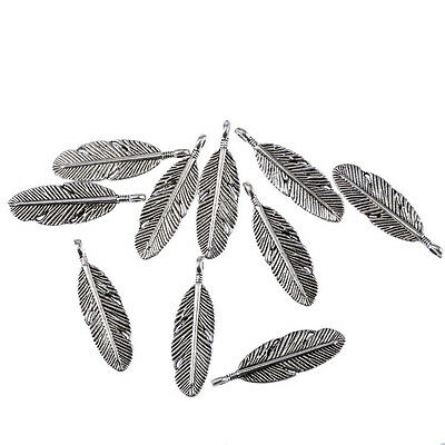 Angel feather Tibetan Silver Bead charms Pendants 10pcs 29*10mm