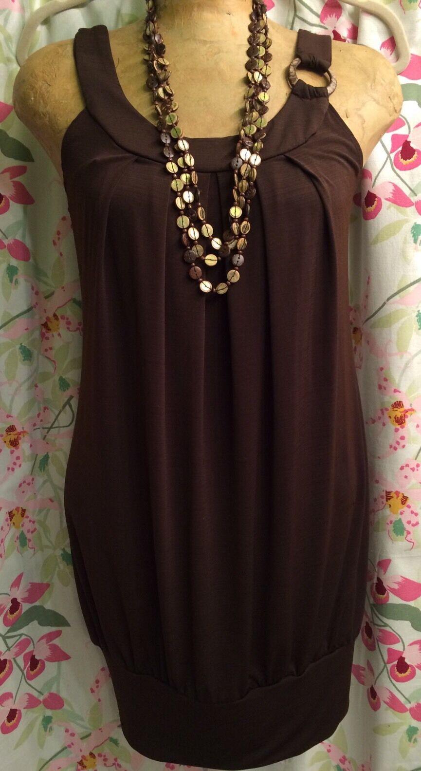 A.BYER WOMEN'S MED. SLINKY STRETCH CHOCOLATE BROWN TUNIC DRESS SLEEVELESS USA