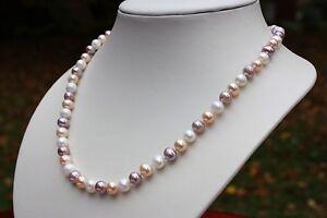 A1B 44cm Natürliche Süßwasser Perle Schmuck Halskette Perlenkette Collier Ketten