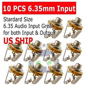 10pcs-1-4-034-6-35mm-Silver-Mono-Input-Jack-Sockets-Electric-Guitar-Bass-AudODFS