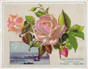 Large Victorian Trade Card Holyoke Tea Co MA Peach Blush Rose & Night Scene 6x5