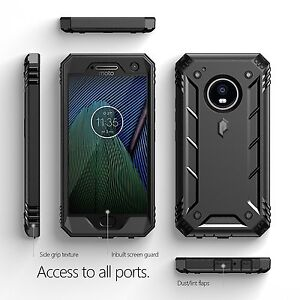 official photos b0adb b717c Details about Revolution Built-In Screen Protector polycarbonate Case For  Moto G5 Plus Black