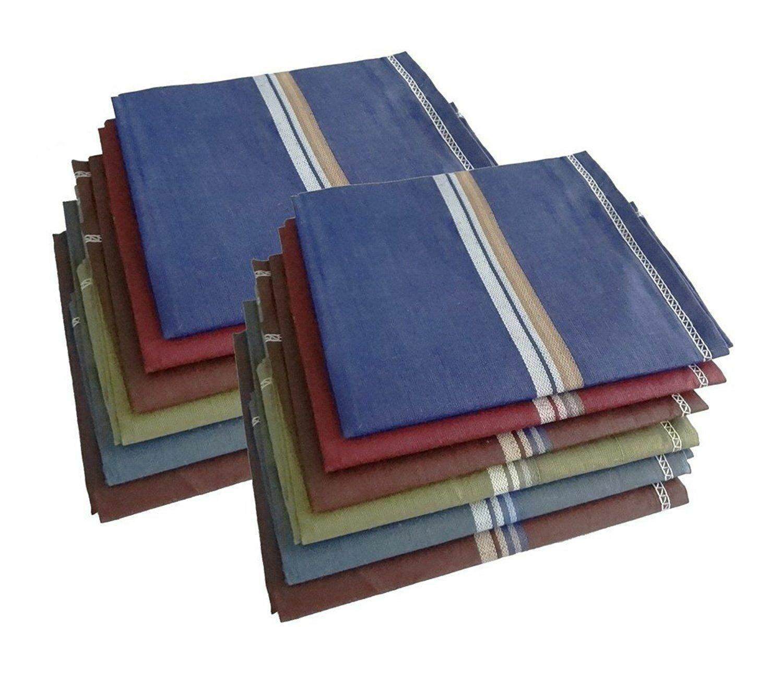 100% Cotton Premium Collection Handkerchiefs - Pack of 12 (Multi Color)