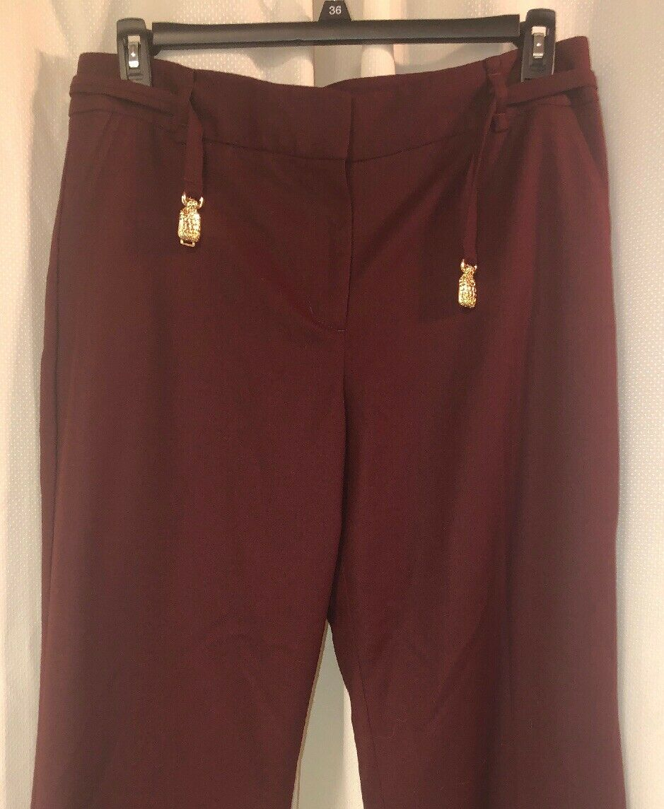 Talbot's 14 P damen lined Wine belted pants Italian flannel fabric NWT lot 01