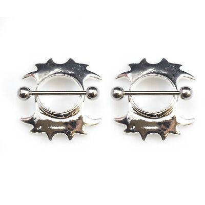Pair of Nipple Piercing Shields 14G Surgical Steel Tribal Hearts Filigree