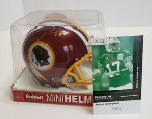 WASHINGTON REDSKINS Jason Campbell Signed Riddell Mini Football Helmet & Card