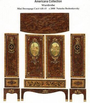 1:24 scale Natasha Beshenkovsky/'s Mini Decoupage Print-Secretary in Chinoiserie