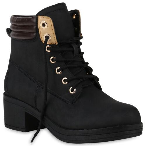 Damen Stiefeletten Schnürstiefeletten Plateau Vorne Freizeitschuhe 818396 Schuhe