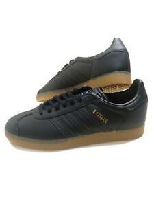 ADIDAS-Originals-Gazelle-Black-Gum-Scarpe-Da-Ginnastica-in-Pelle-Nera-Misura-UK-6-EU-39