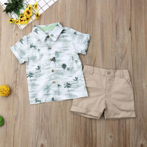 Toddler-Kids-Baby-Boy-Gentleman-Clothes-Outfits-Sets-Short-Sleeve-Shirts-Pant