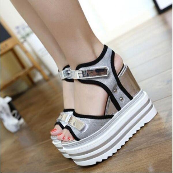 Sandals platform wedge mujer zapatos 13.5 cm gris blancoo negro comfortable