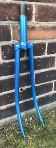 TANGE-Steel-Bike-Fork-BLUE-from-Vintage-Fuji-5-1-2-Steerer-Threaded-1-27x1-1-4