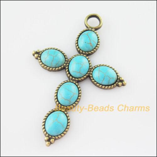 2 New Charms Cross Turquoise Antiqued Bronze Pendants Retro 40.5x61mm