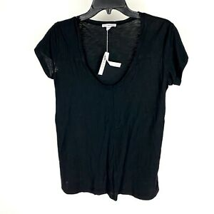 James-Perse-Womens-Deep-Scoop-Neck-T-Shirt-2-Black-Short-Sleeve-Modal-Top-Medium