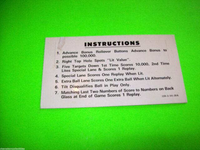 PINBALL By STERN 1978 ORIGINAL PINBALL MACHINE 2-SIDED INSTRUCTION CARD