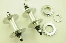 32 SPOKE FLIP FLOP ALLOY FRONT & REAR HUBS SEALED BEARING FIXIE BIKE + SPROCKETS