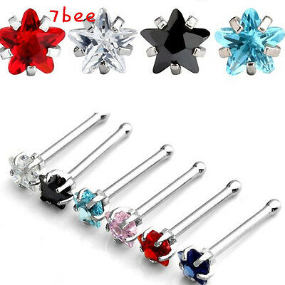 20G Fashion Chic Stainless Steel Star Clear CZ Gem Nose Bone Ring Stud Piercing