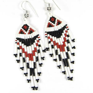 Image Is Loading Red Black White Bugle Seed Beaded Earrings E15