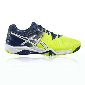 Asics-Homme-Gel-Resolution-6-Cour-Chaussures-Bleu-Jaune-De-Tennis-Sport-Respirant
