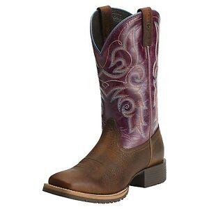 ARIAT-Women-039-s-Hybrid-Rancher-Brown-Purple-Western-Square-Toe-Boots-10014163-NIB