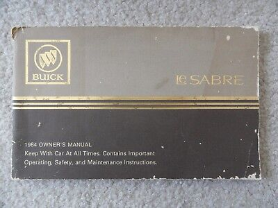 Parts & Accessories 1984 Buick LeSabre Le Sabre Owners Manual ...