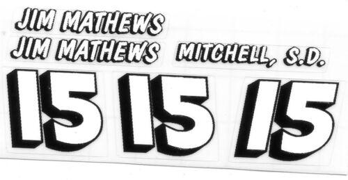 #15 Jim Mathews race car DECAL SHEET
