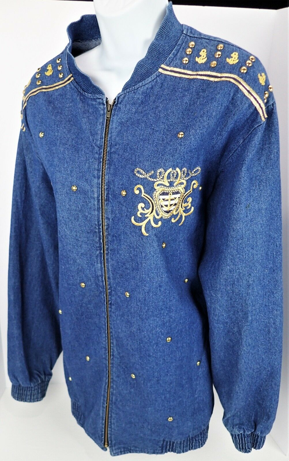 XL Gepetto Zip Front Denim Jacket Retro Vtg 80s Nautical Embellished Gold Studs