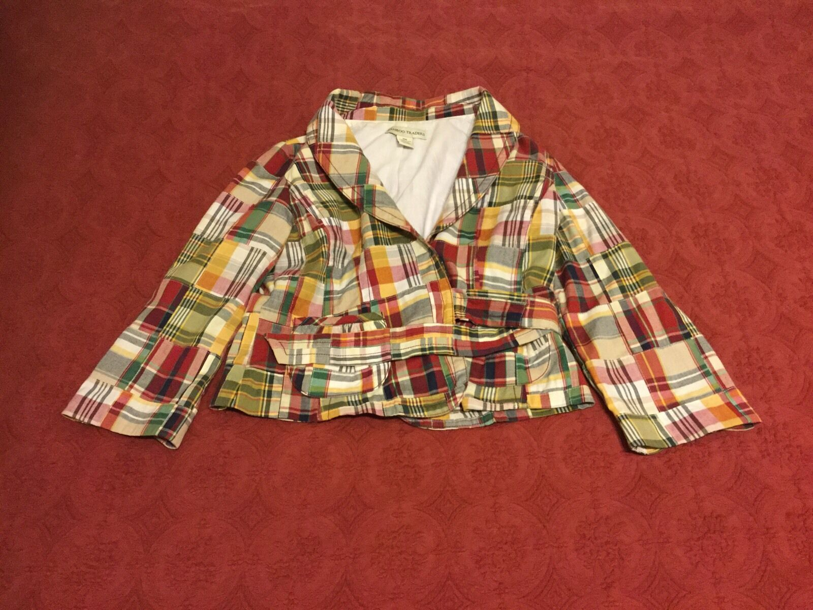 NWOT Bamboo Traders Sz M Pet Madras Multi-Colored Plaid Short Coat w/ Waist Ties