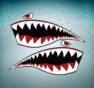 Sticker-car-moto-tuning-jdm-big-size-airplane-shark-plane-fighter-teeth-tigers