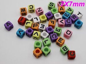 200-Mixed-Color-Assorted-Alphabet-Letter-Cube-Pony-Beads-7X7mm-Kids-Craft