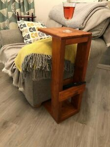 Swell Details About Wooden Arm Chair End Table Sofa Table Tv Remote Storage Caraccident5 Cool Chair Designs And Ideas Caraccident5Info
