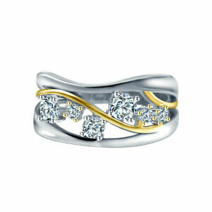 Wedding-Jewelry-Fashion-Two-Tone-925-Silver-Rings-White-Sapphire-Ring-Size-6-10