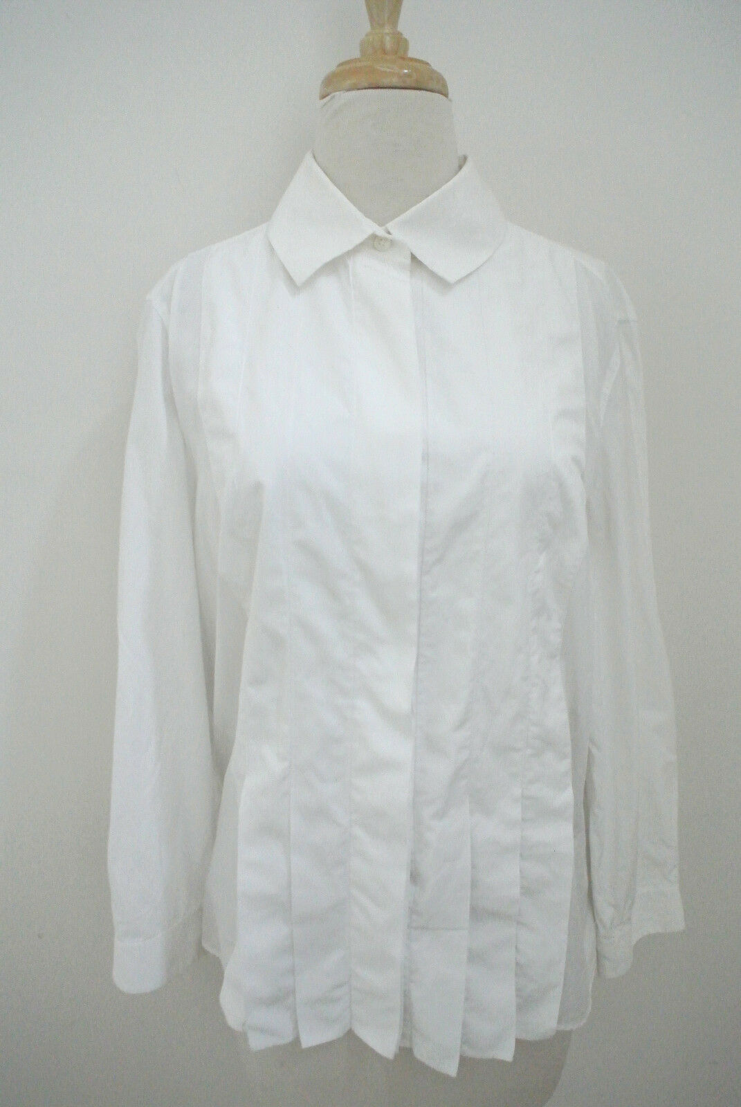 AKRIS Weiß cotton button up shirt F 44 US 12 L pleated front