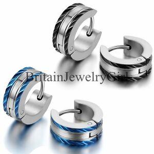 Stainless Steel 2 Tone Hoop Earring With Blue Black Ip Edges Mens