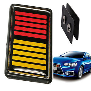 Red-Yellow-Black-Car-Front-Grille-Emblem-Badge-For-RALLIART-Lancer-Evolution-Top