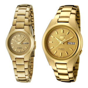 Seiko-5-Classic-Gold-Dial-Couple-039-s-Gold-Plated-Stainless-Steel-Watch-Set