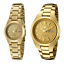 Seiko-5-Classic-Gold-Dial-Couple-039-s-Gold-Plated-Stainless-Steel-Watch-Set thumbnail 1