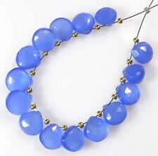 12 LARGE SKY BLUE CHALCEDONY FACETED HEART BRIOLETTE BEADS 12 mm