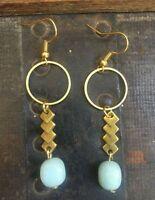 Handmade Summer Earrings Circle Brass & Mint Aventurine Geometric Antique Gold