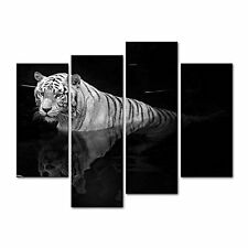 Canvas Print Wall Art Painting For Home Decor Black And White Tiger Standing In
