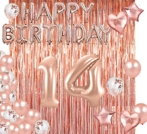Rose Gold 14th Happy Birthday Photo Background Balloon Party Decoration Supplies Ebay