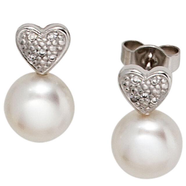 Damen Ohrstecker Herz 585 Gold Weißgold 2 Süßwasser Perlen 10 Diamanten Ohrringe