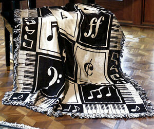 """THROWS - MUSIC LESSONS THROW BLANKET - 46"""" X 60""""  - MUSICAL NOTES - PIANO KEYS"""